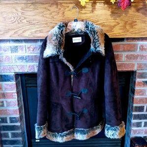 Fashion bug brand brown suede like fur coat size L